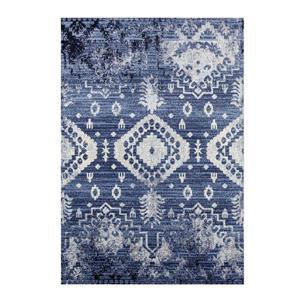 Tapis rétro rectangulaire Anatolie, 4' x 5', bleu/ivoire
