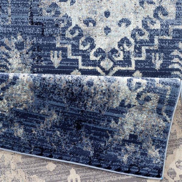 La Dole Rugs®  Anatolia Vintage Rectangular Area Rug - 5' x 7' - Blue/Ivory