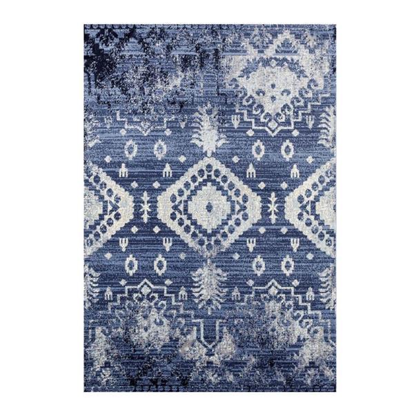 Tapis rétro rectangulaire Anatolie, 2' x 3', bleu/ivoire