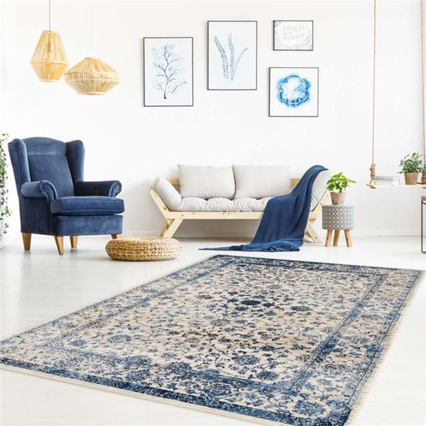 La Dole Rugs®  Anatolia Traditional Area Rug - 4' x 5' - Ivory/Blue