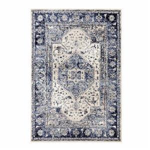 Tapis européen rectangulaire Anatolia, 5' x 7', bleu/ivoire