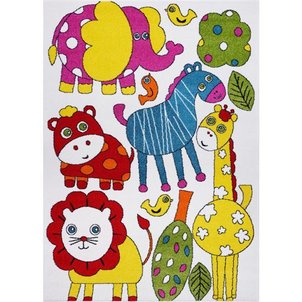 Tapis pour enfants thème animaux, 8' x 11', crème/multi