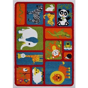 Tapis pour enfants thème animaux, 8' x 11', rouge/multi