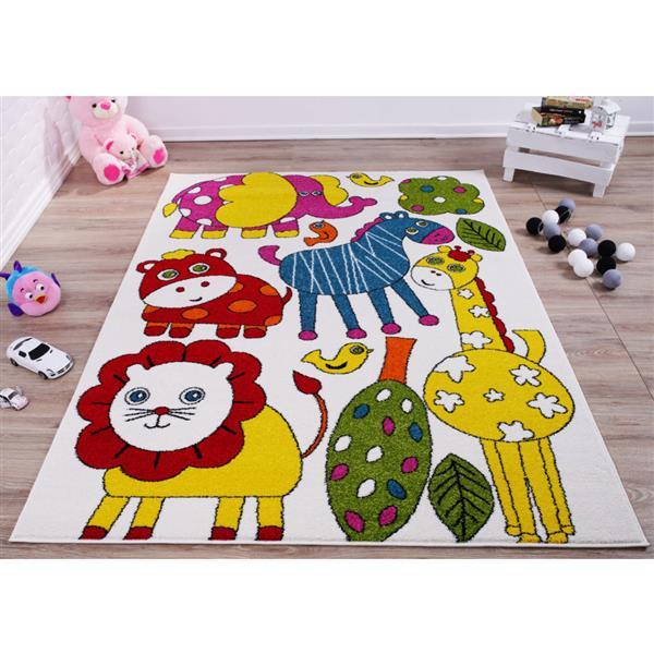 La Dole Rugs®  Kids Cartoon Animal Area Rug - 6' x 9' - Cream/Multicolour