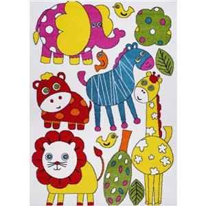 Tapis pour enfants thème animaux, 6' x 9', crème/multi