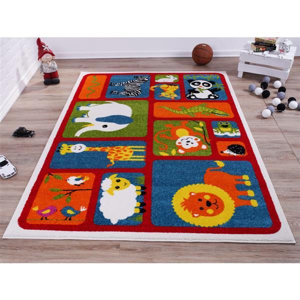 La Dole Rugs®  Kids Cartoon Animal Area Rug - 6' x 9' - Red/Multicolour