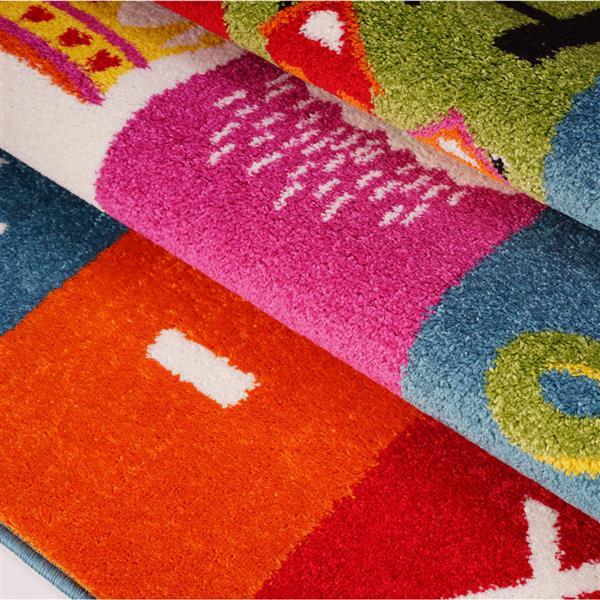Tapis pour enfants thème alphabet, 8' x 11', multicolore