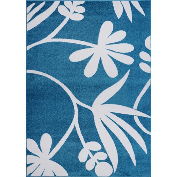 La Dole Rugs® Botanical Area Rug  - 4' x 6' - Blue/Cream