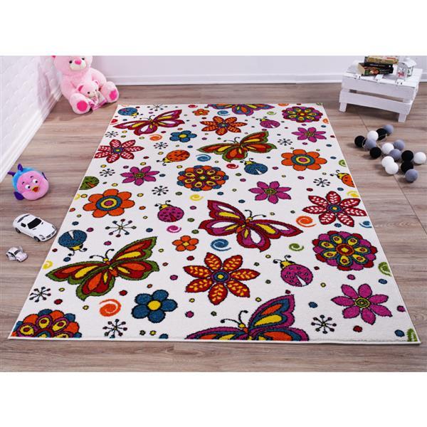 La Dole Rugs®  Butterflies and Flowers Rug - 6' x 9' - Cream/Multicolour