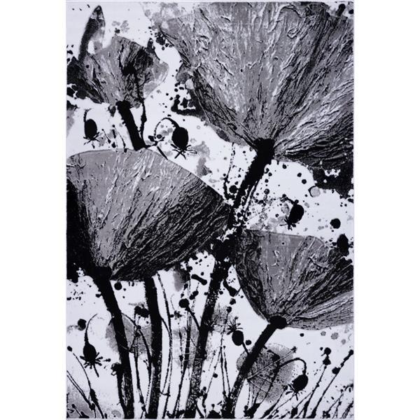 La Dole Rugs® Poppy Floral Rectangular Rug - 5' x 8' - Grey/Black