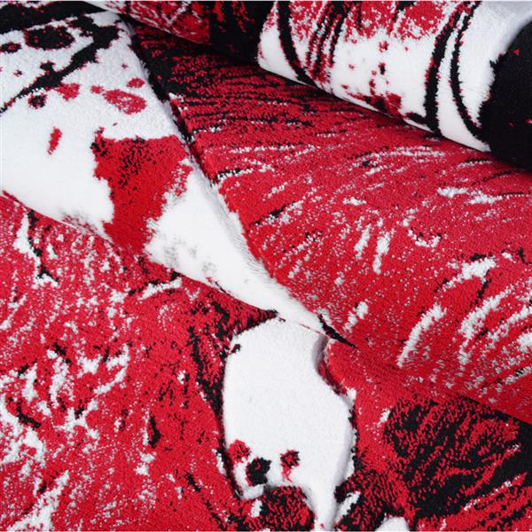 La Dole Rugs® Poppy Floral Rectangular Rug - 5' x 8' - Red/Black