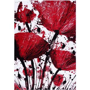 Tapis floral rectangualire «Poppy», 3' x 5', rouge/noir