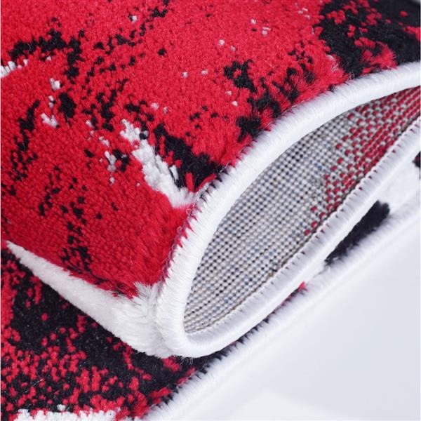 La Dole Rugs® Poppy Floral Rectangular Rug - 4' x 6' - Red/Black