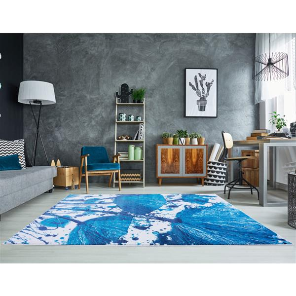 La Dole Rugs® Poppy Floral Rectangular Rug - 7' x 10' - Turquoise/Blue
