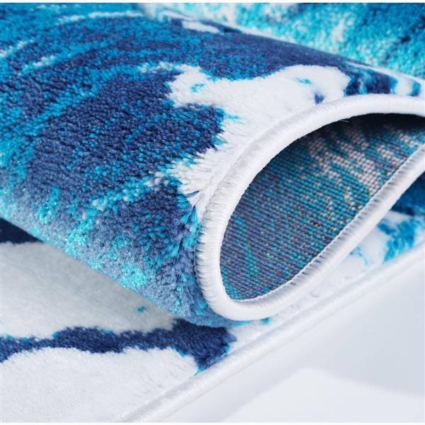 La Dole Rugs® Poppy Floral Rectangular Rug - 8' x 11' - Turquoise/Blue