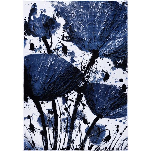 Tapis floral rectangualire «Poppy», 3' x 10', marine/noir