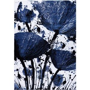 Tapis floral rectangualire «Poppy», 3' x 10', marine/noir