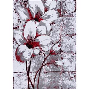 Tapis floral rectangualire «tulip», 5' x 8', gris/rouge