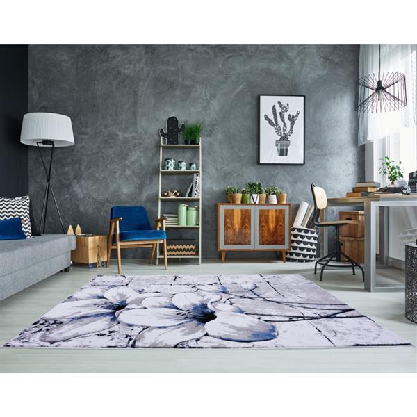 La Dole Rugs® Tulip Floral Rectangular Rug - 8' x 11' - Grey/Blue