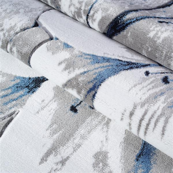 Tapis floral rectangualire «tulip», 5' x 8', gris/bleu