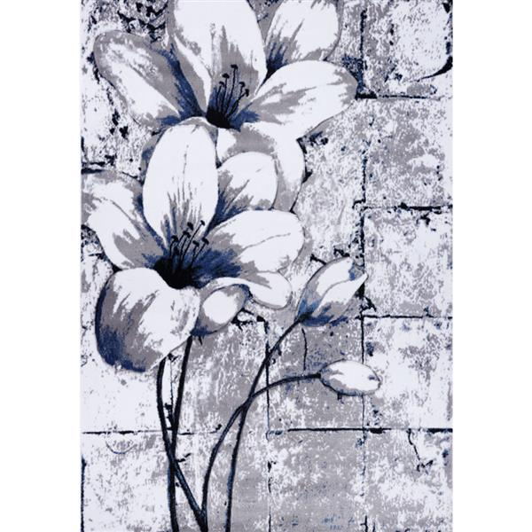 La Dole Rugs® Tulip Floral Rectangular Rug - 7' x 8' - Grey/Blue