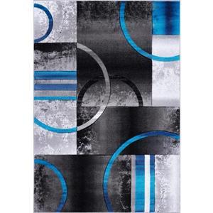 Tapis à motif géométrique «Adonis», 5' x 8', bleu/gris