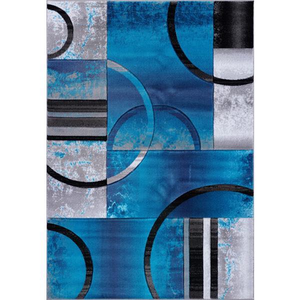 Tapis à motif géométrique «Adonis», 7' x 10', turquoise/noir
