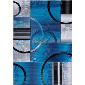 Tapis à motif géométrique «Adonis», 4' x 6', turquoise/noir