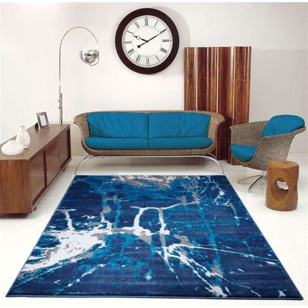 La Dole Rugs®  Anise Contemporary Abstract Runner - 3' x 10' -Blue/Grey