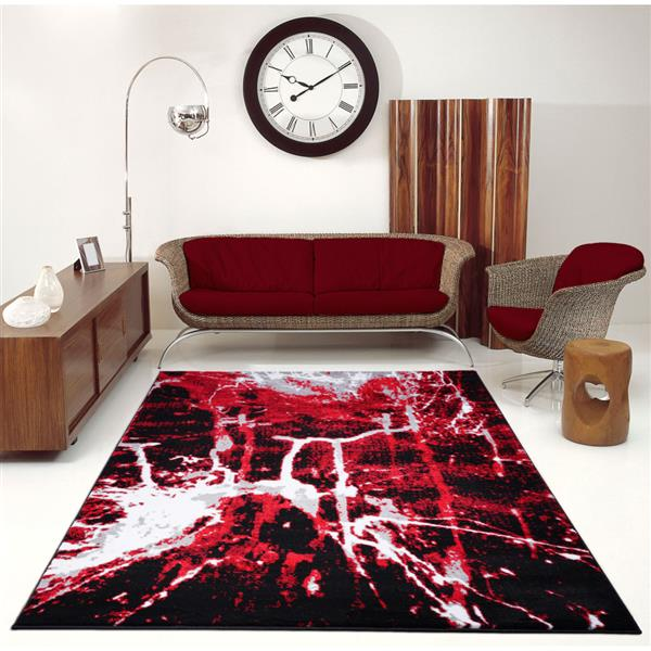 La Dole Rugs®  Anise Contemporary Abstract Runner - 3' x 10' - Red/Black