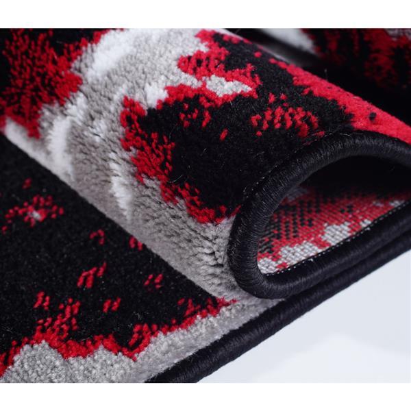 Tapis contemporain abstrait«Anise», 7' x 10', rouge/noir