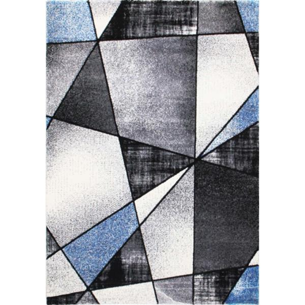 "La Dole Rugs® Geometric Rug - 3' 9"" x 5' 2""- Blue/Black"