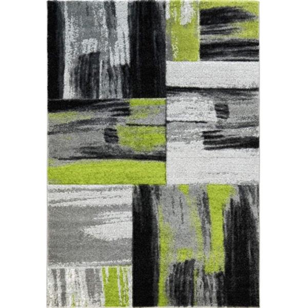 "Tapis cuivre abstrait, 6'2 ""x 9'2"", vert/noir"