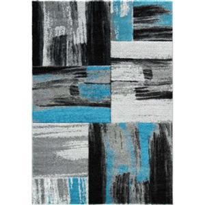 """Tapis cuivre abstrait, 6'2 """"x 9'2"""", bleu/noir"""