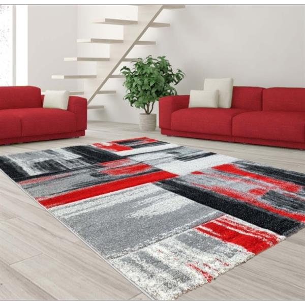 "La Dole Rugs®  Copper Abstract Rectangular Rug - 3' 9"" x 5' 2"" - Black/Grey"