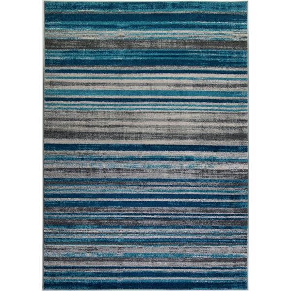 La Dole Rugs®  Kensington Line Abstract Rug - 4' x 6' - Blue/Ivory