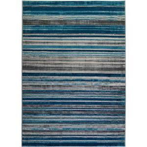 Tapis abstrait «Kensington», 4' x 6', bleu/ivoire