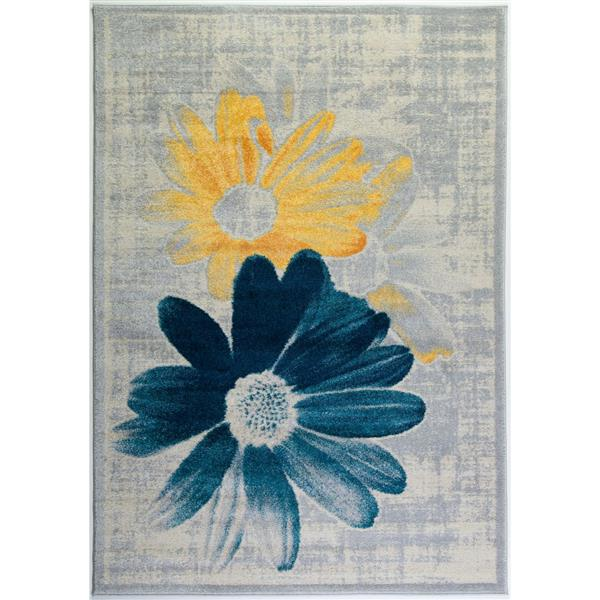 La Dole Rugs®  Contemporary Floral Area Rug - 3' x 5' - Teal/Yellow