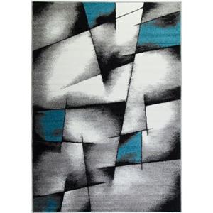 Tapis géométrique de La Dole Rugs(MD), 3' x 10', bleu/gris