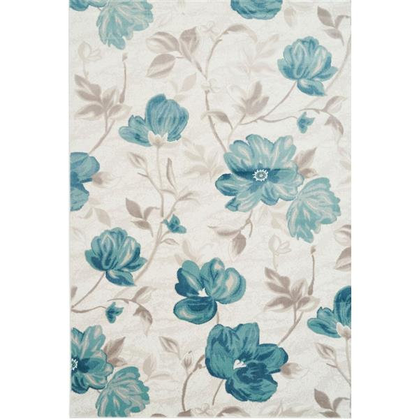 La Dole Rugs®  Begonia Rectangular Floral Rug - 8' x 11' - Blue/Cream