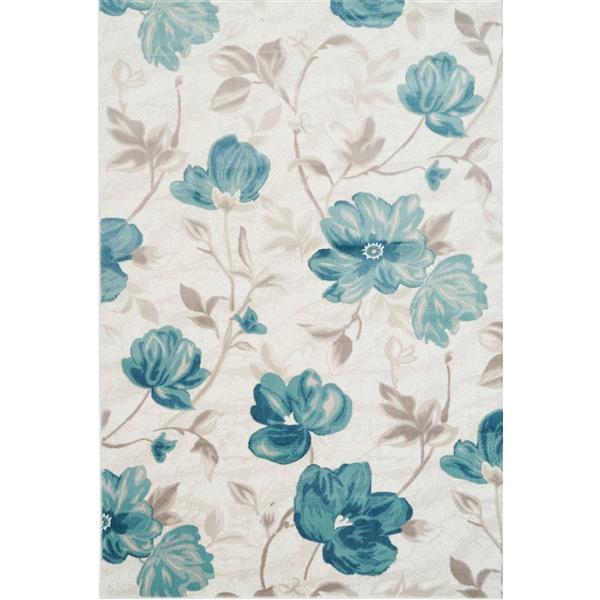 La Dole Rugs®  Begonia Rectangular Floral Rug - 5' x 8' - Blue/Cream