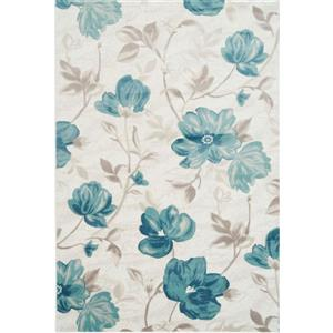 Tapis rectangulaire floral «Bégonia», 5' x 8', bleu/crème