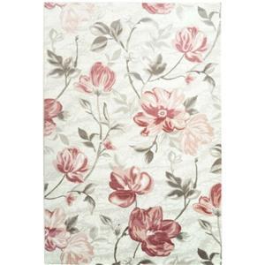 Tapis rectangulaire floral «Bégonia», 7' x 10', rouge/crème