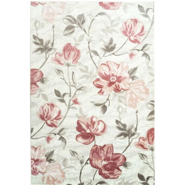 La Dole Rugs®  Begonia Rectangular Floral Area Rug - 4' x 6' - Red/Cream