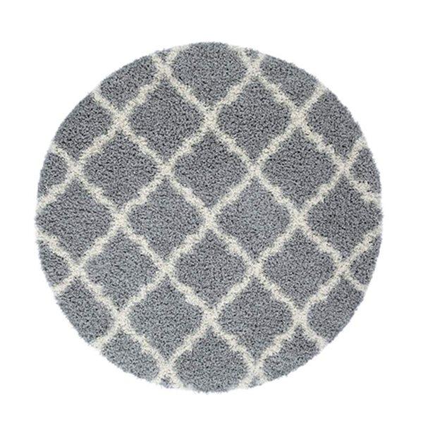 La Dole Rugs® Round Shaggy Modern Area Rug - 5' - Grey