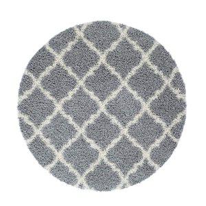 Tapis rond moderne «Shaggy» de La Dole Rugs(MD), 5', gris