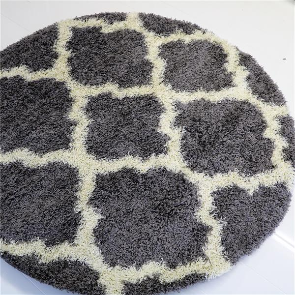 Tapis rond moderne «Shaggy», 5', girs clair/ivoire