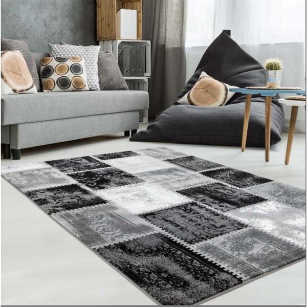 Tapis contemporain de La Dole Rugs(MD), 5' x 8', gris/noir