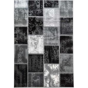 Tapis contemporain de La Dole Rugs(MD), 4' x 6', gris/noir