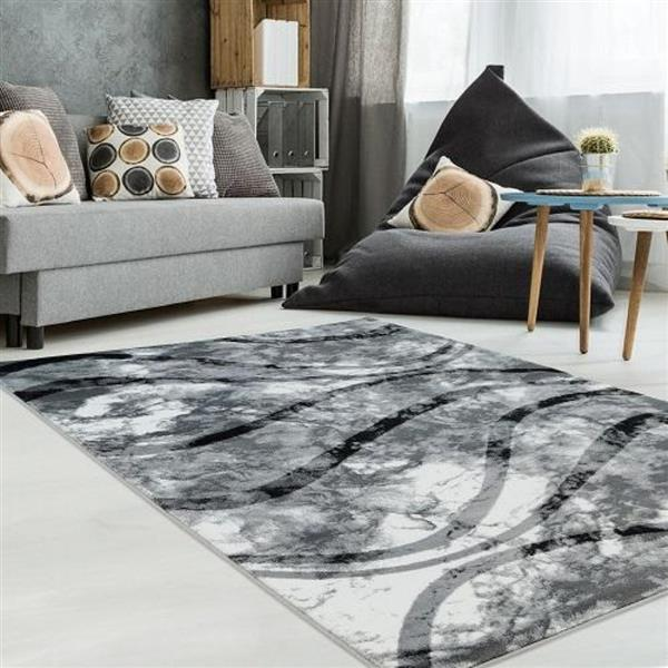 La Dole Rugs®  Abstract Contemporary Area Rug - 5' x 8' - Ivory/Grey